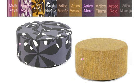 Puff redondo 54cm X 33cm (Diámetro x Altura). Disponible en varios colores