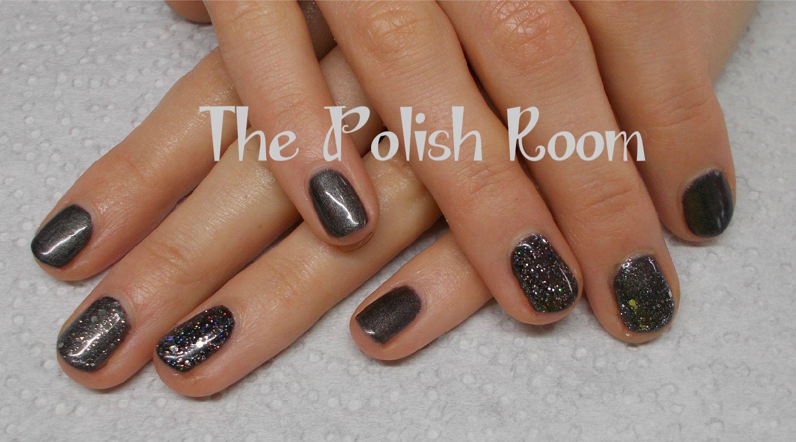 Natural nails, gel polish manicure, gunmetal grey, glitter, black, sparkles, nailart