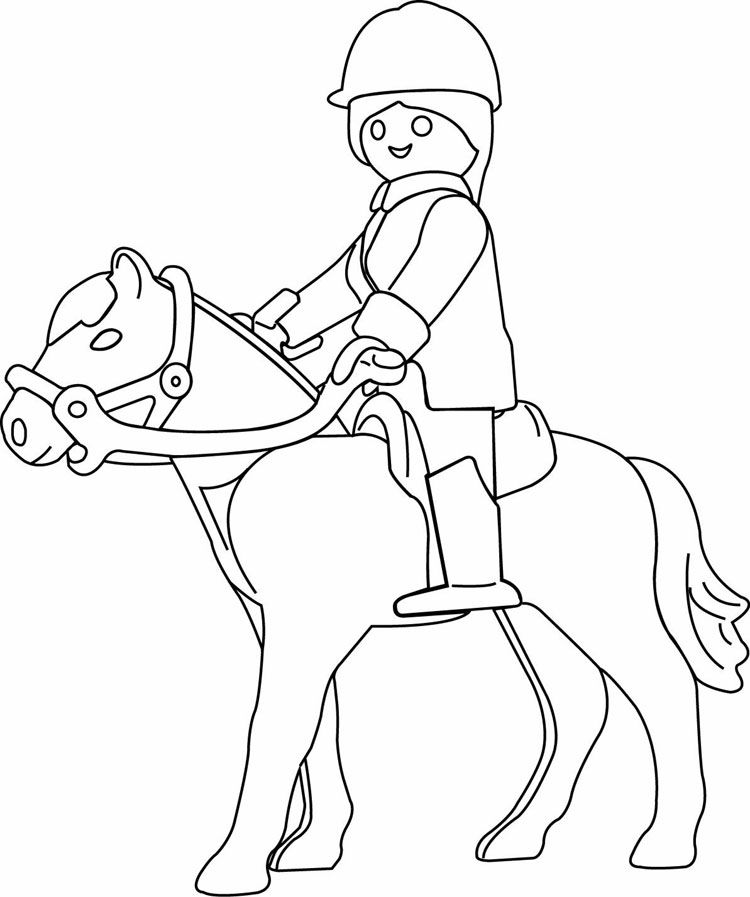 Coloriage Fille Sur Cheval.Coloriage Playmobil A Cheval Playmobil Omalovanky