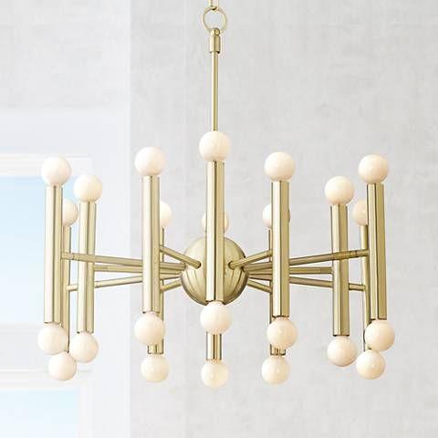 Possini Euro Hera 26 Wide Satin Brass Chandelier 14h77 Lamps Plus Brass Chandelier Possini Euro Design Chandelier