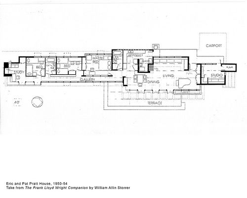 Eric and Pat Pratt House Plan (1951), Frank Lloyd Wright | Lloyd ...