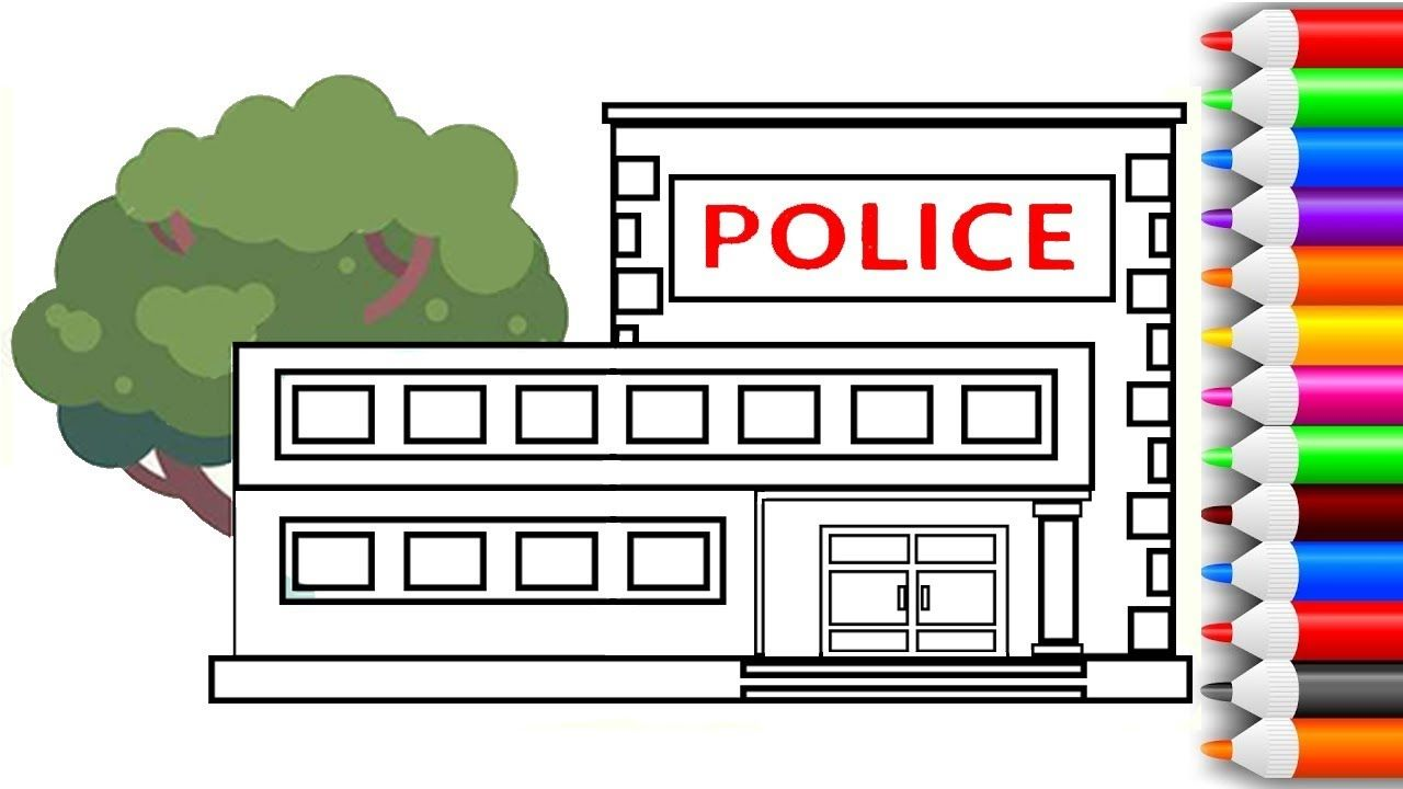 How to draw and color police station coloring pages for kids play