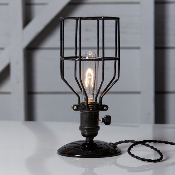 Industrial Desk Lamp Black Wire Cage Table Light By Indlights Industrial Desk Lamp Lamp Cage Table