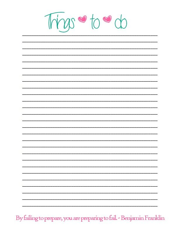 Simple Things to do List – Simple to Do List Template
