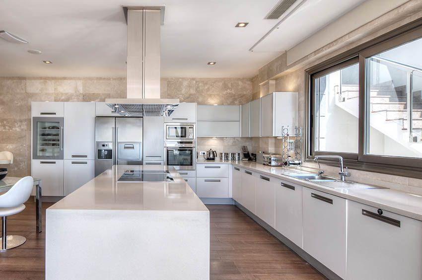 Large Modern Kitchen With Top Mount Stainless Steel Sink And White Acrylic Cabinets Modern Large Kitchens Modern Kitchen Design Kitchen Design