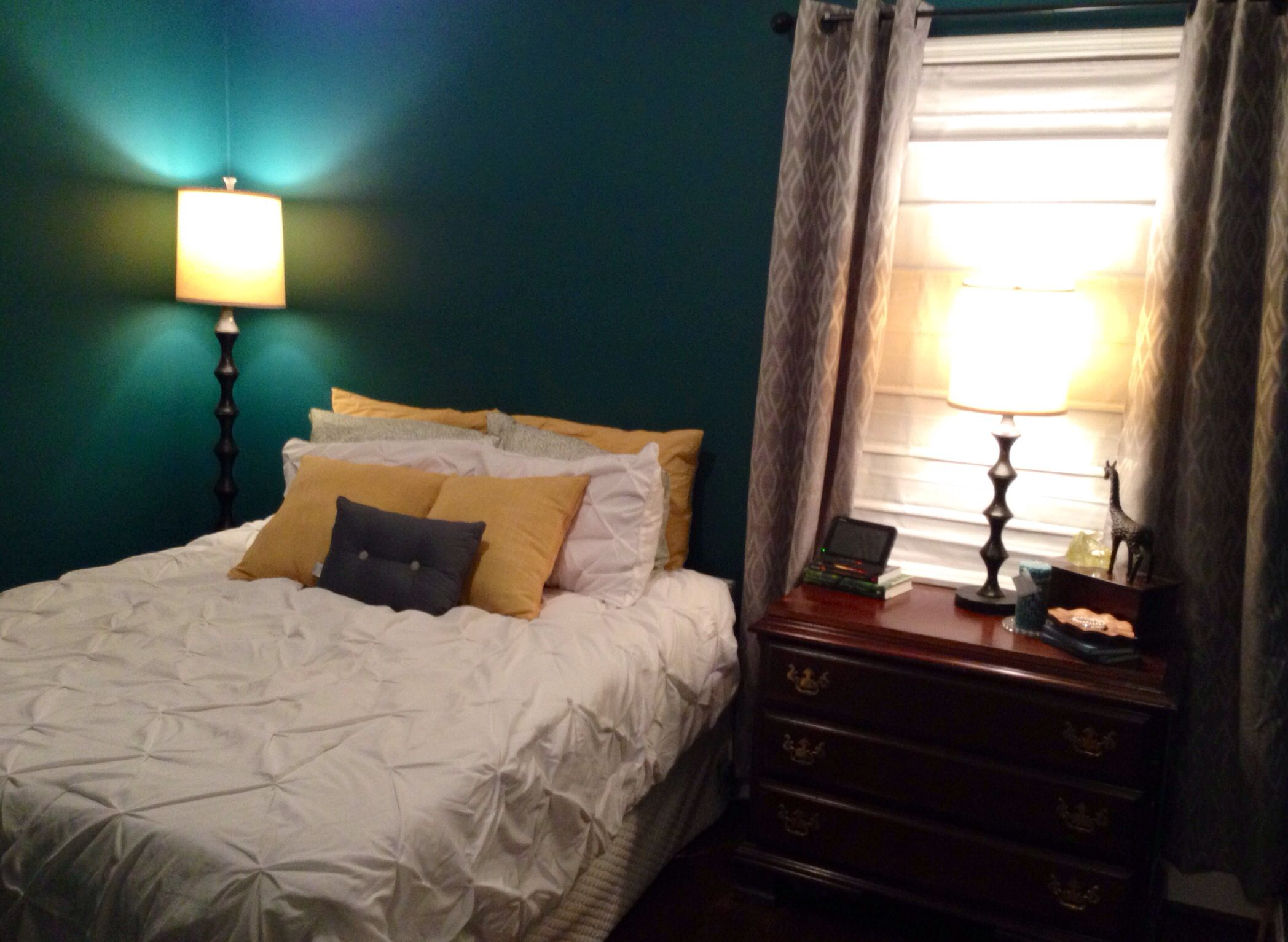 amusing grey teal bedroom | Dark teal, grey, and yellow bedroom | Bedroom, Dark teal ...