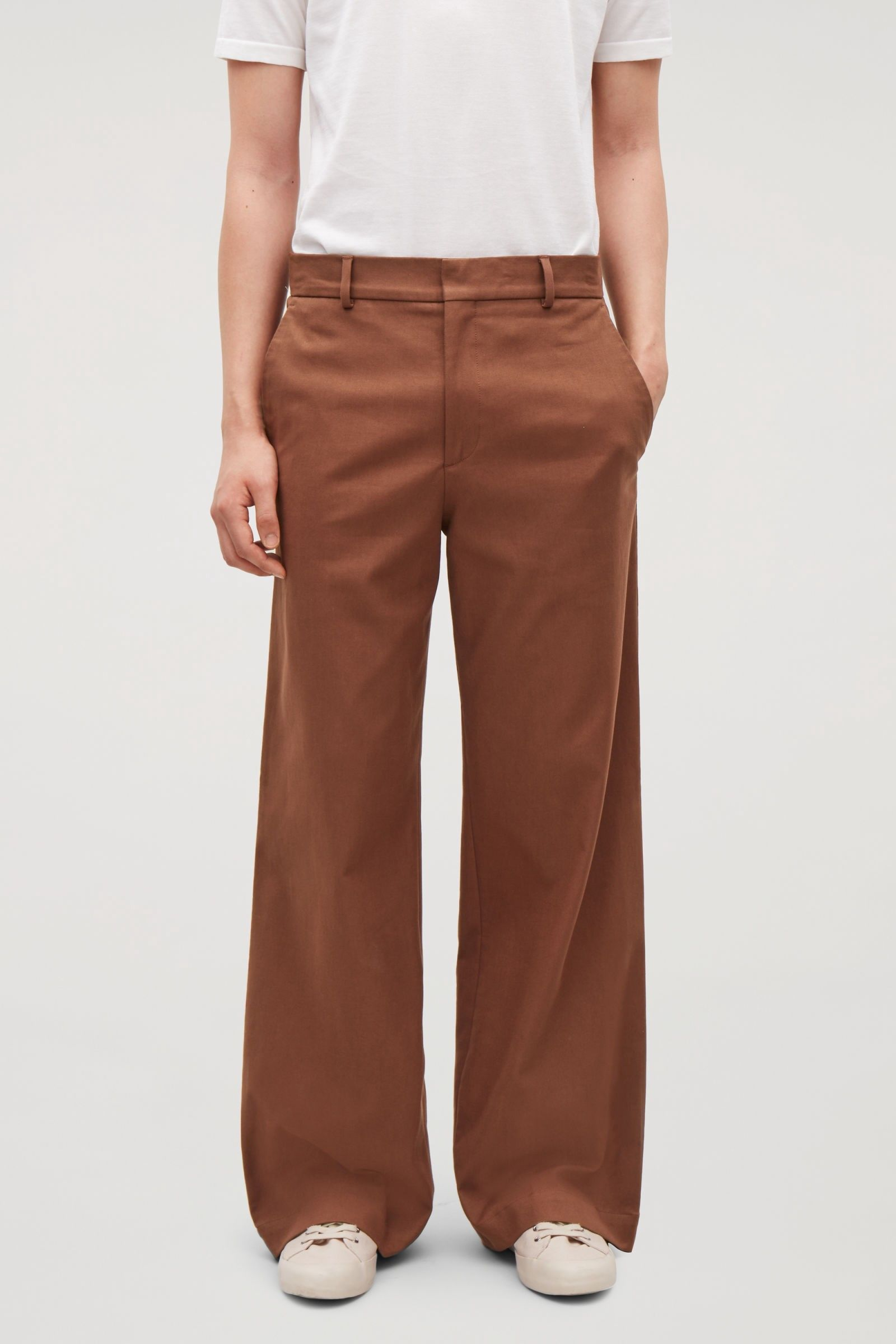 00ec7d91955d Cos Cotton Wide-Leg Trousers - Brown 32R | Products | Trousers, Wide ...