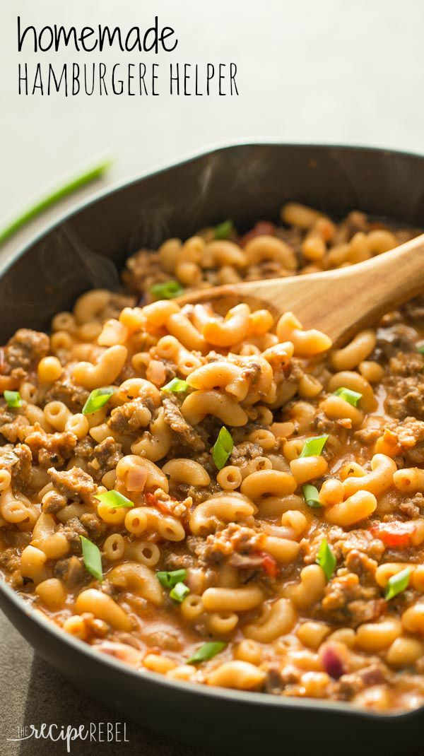 the easiest homemade hamburger helper you'll find! Made healthier with a combination of broth, milk, and added veggies (but you'd never know!)
