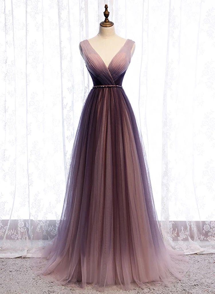 2020 Spring Long V Neck A Line Dress Halter Beaded Evening Dress from Sweetheart Dress