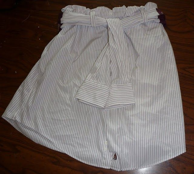 upcycling a men's shirt into a skirt