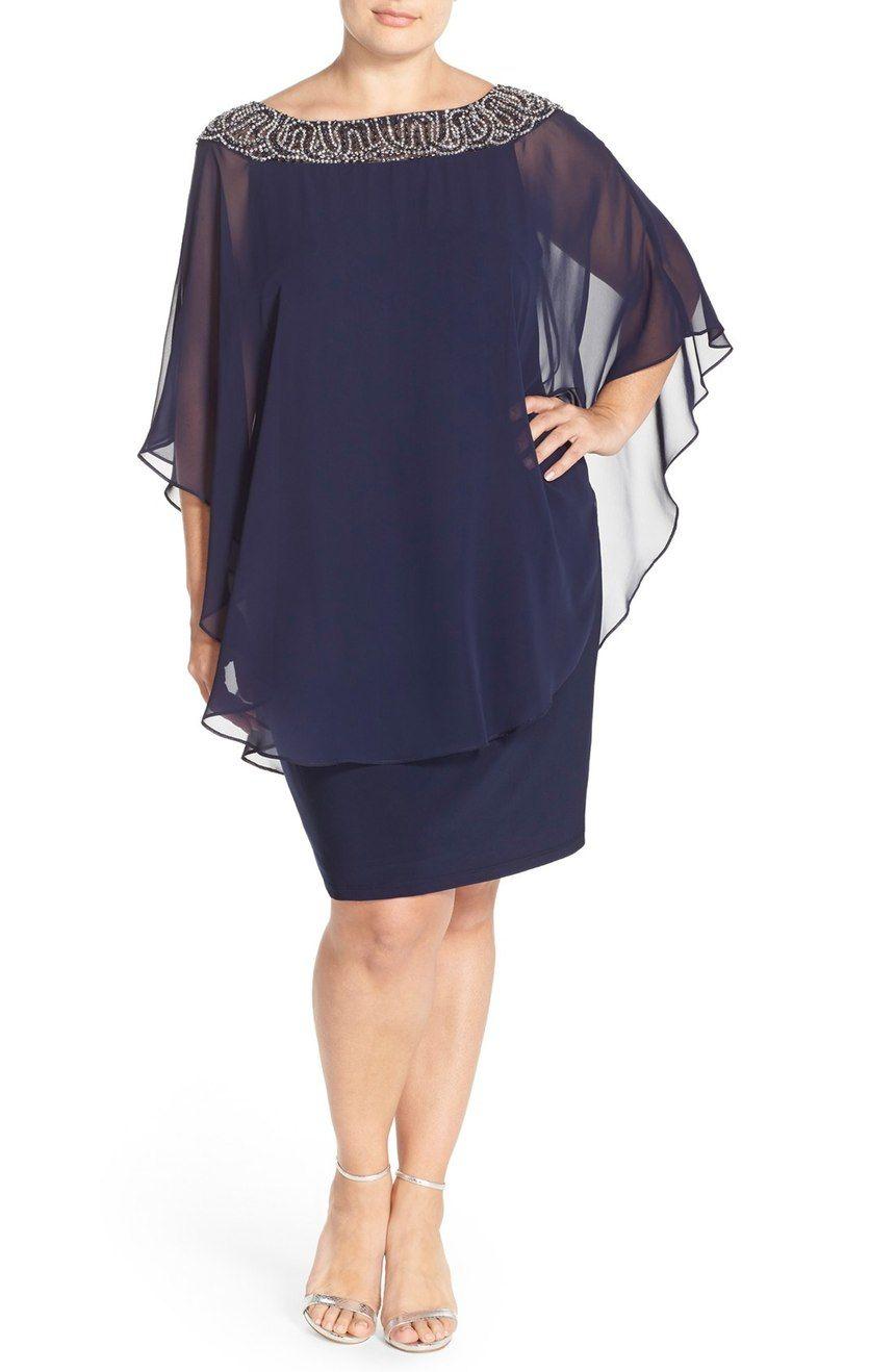 Embellished Chiffon Overlay Jersey Sheath Dress | Vestiditos ...
