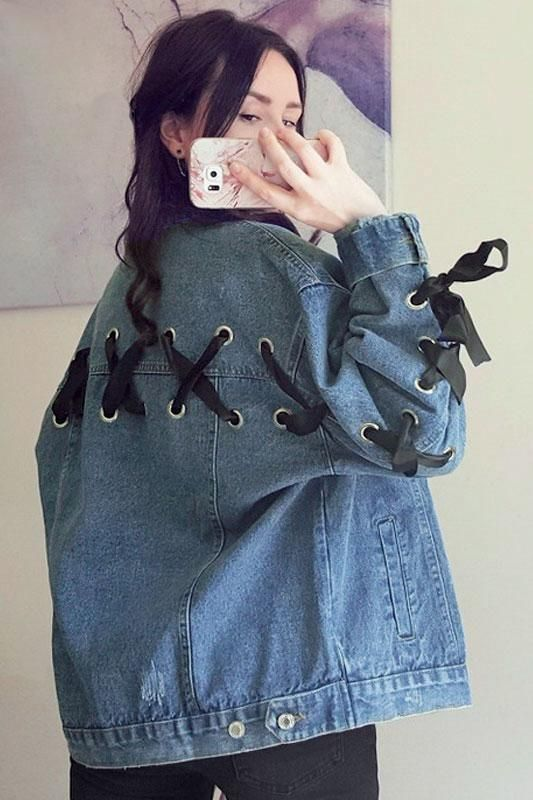 8dess Lace Up Denim Jacket Coat Women Vintage Button Basic Jacket Coat Coats Jackets Women