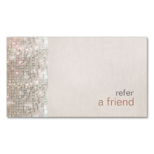 Modern and Hip Sequins Refer A Friend Salon Coupon Business Card - referral coupon template