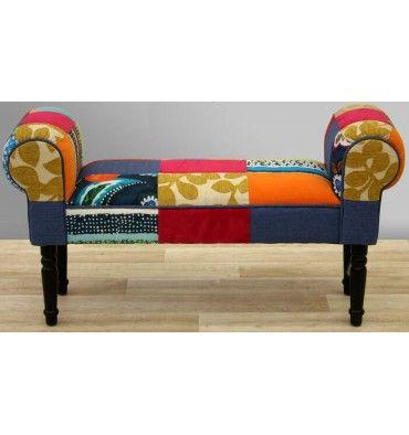 Banqueta tapizada en estilo patcwork para dormitorio recibidor medidas 100x53x31cm - Banquetas para dormitorio ...