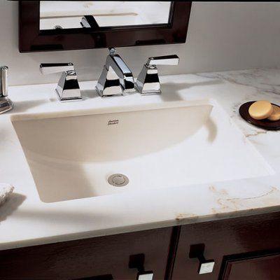 American Standard Studio Ceramic Rectangular Undermount Bathroom Sink With Overflow Color White
