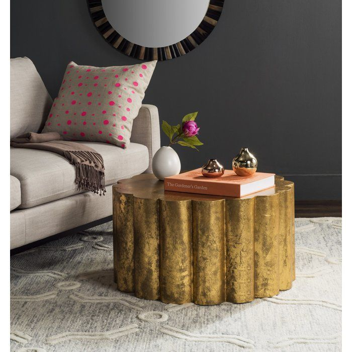Wonderful Featuring A Bold, Ridged Design And Gold Hued Finish, This Coffee Table  Looks