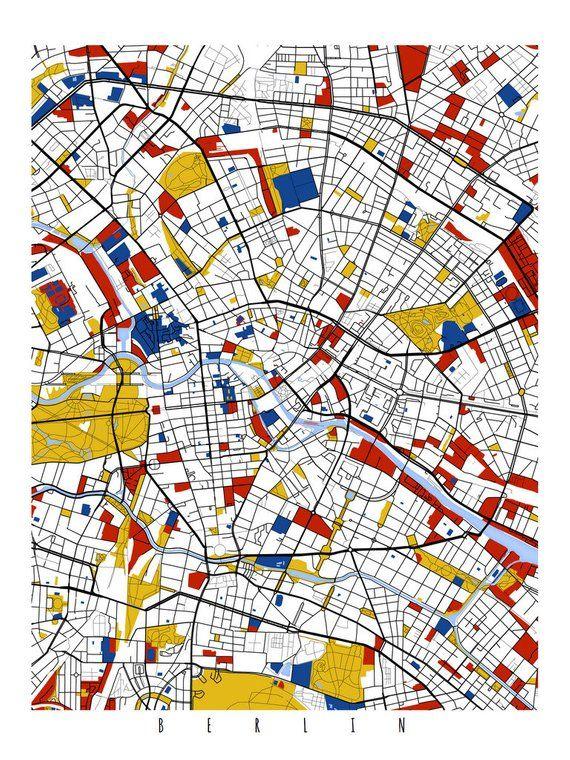 1713c8de Berlin Map Art / Berlin, Germany Wall Art / Print / Poster / Modern Home  Decor