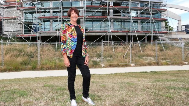 Whitehaven managing director Sue White in front of a riverside function room at the new ASB Theatre, which will be named the Whitehaven Wine Room.