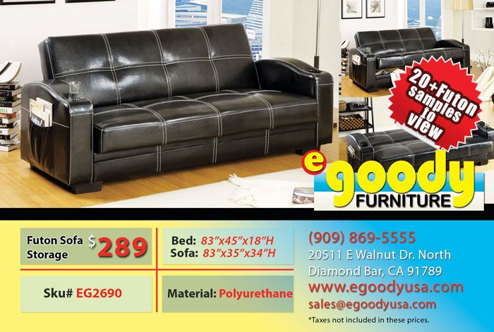 Futon Sofa Bed Black Storage With Cup Holder Black Pu Leather With White  Stitching