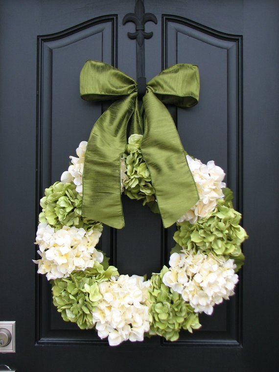 """Photo of Ghirlande di ortensie, fioriture di ortensie estive, ghirlanda di ortensie da 22 """", corona per porta d'ingresso, corona per porta d'ingresso estiva, tela per ghirlande"""