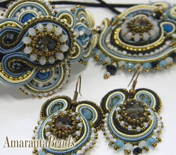 The Winter Sea Soutache Necklace Made in Italy by AmarantaBeads