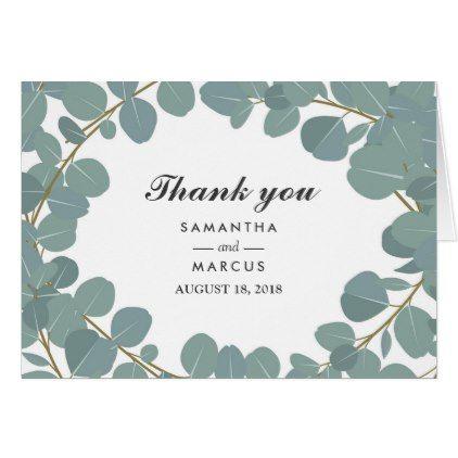 #wedding #thankyoucards - #Eucalyptus Wreath Greenery Wedding Thank You Card