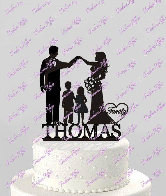 Wedding Cake Topper Family Silhouette