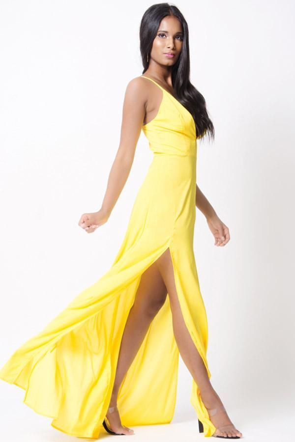 Jewelclues Exclusive! Get a glow that's all your own with the V Neck Double Slit Maxi Dress. This elegant maxi length dress has a surplice top and an empire waist. It features spaghetti straps and is ...