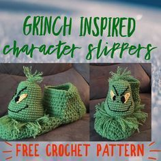 GRINCH INSPIRED CHRISTMAS SLIPPERS!!!! FREE CROCHET PATTERN WITH VIDEO TUTORIAL …