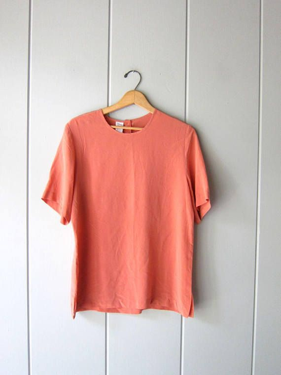 4ed327dd 90s Silk Top CORAL ROSE Modern Silk Blouse Boxy Silk Top Short ...