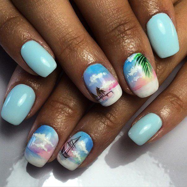 они пляжный дизайн ногтей гель фото помощью