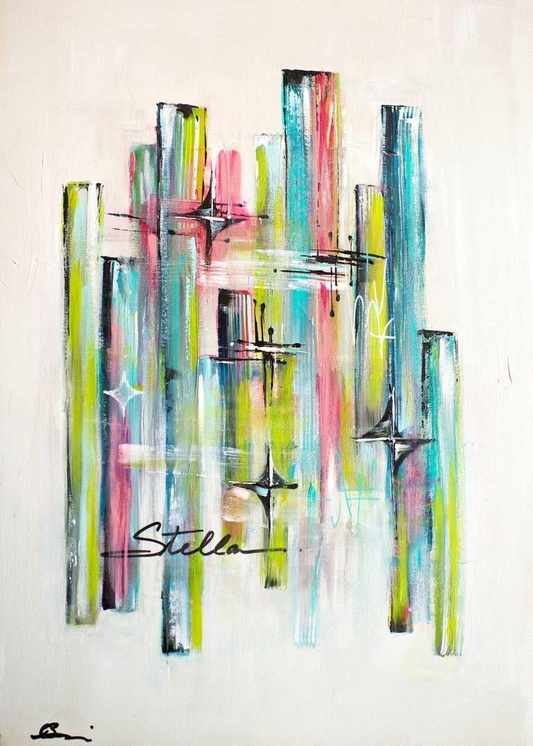 Stella II   mid century modern abstract art Painting in 20 ...