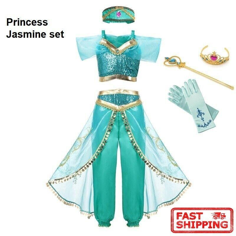 Disney Parks Girls Sparkle Costume Jasmine Aladdin Youth