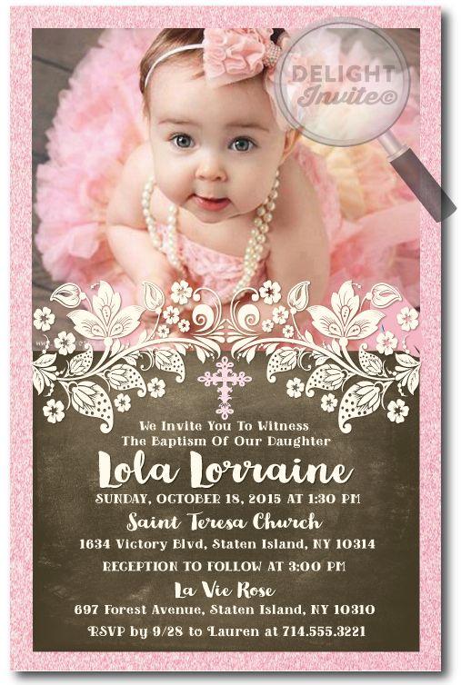 Vintage Victorian Pink Peach Baptism Invitations Di 824