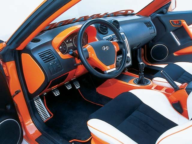 2003 Hyundai Tiburon Gt Modified By Apc Tuscani Orange White And Black Interior Custom Hyundai Tiburon Hyundai Orange Car