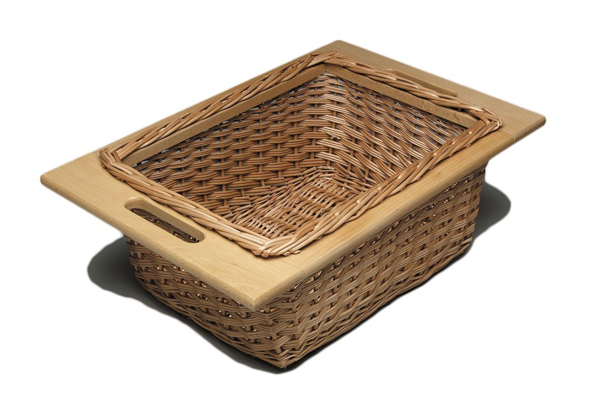 Hafele 540 55 001 11 25 Wide Pull Out Wicker Baskets With Beech Frame Wicker Base Cabinet Organizers Baskets In 2020 Wicker Baskets With Handles Wicker Baskets Hafele