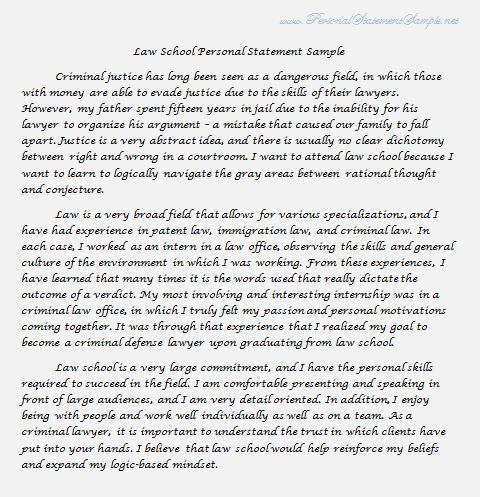 Law School Personal Statement Sample    www - best of 9 personal statement letter