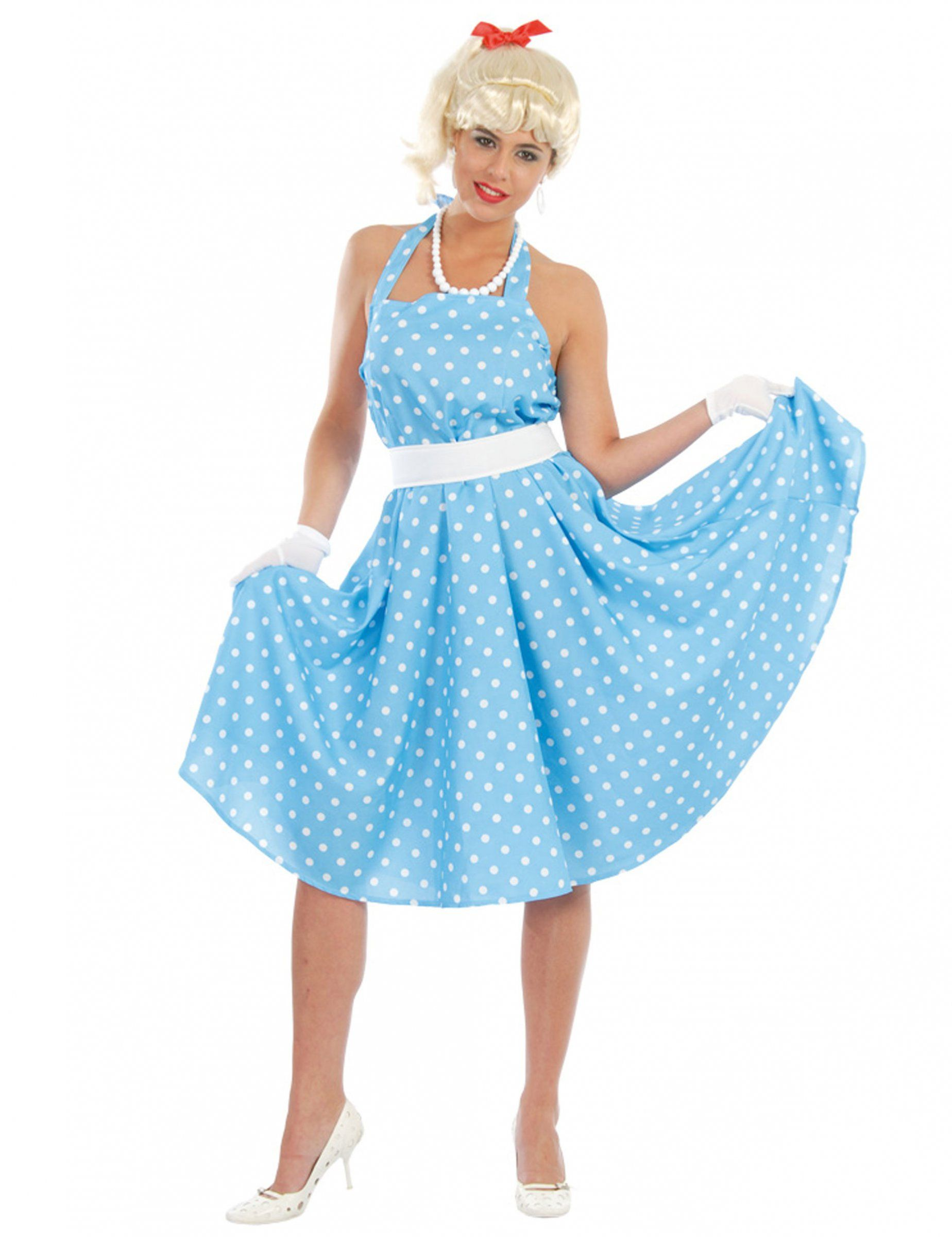 Disfraz azul con lunares años 50 mujer Disfraces para
