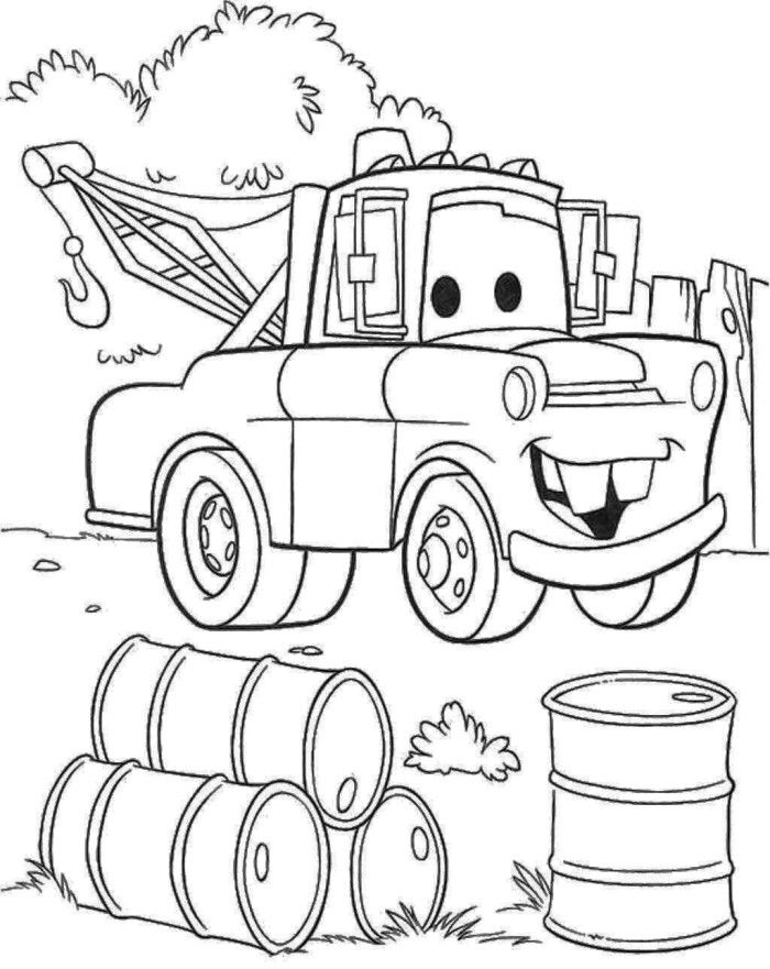 Pixar Tow Truck Coloring Page Bachar Boys Pinterest