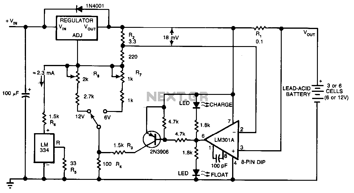 Lead-acid-battery-charger - schematic | Electronic Schematics ... on usb car charger schematic, lead acid cell diagram, charger circuit schematic, nimh charger schematic, solar cell charger schematic, nicad charger schematic, wireless charger schematic, cell phone charger schematic, inverter charger schematic, club car charger schematic,
