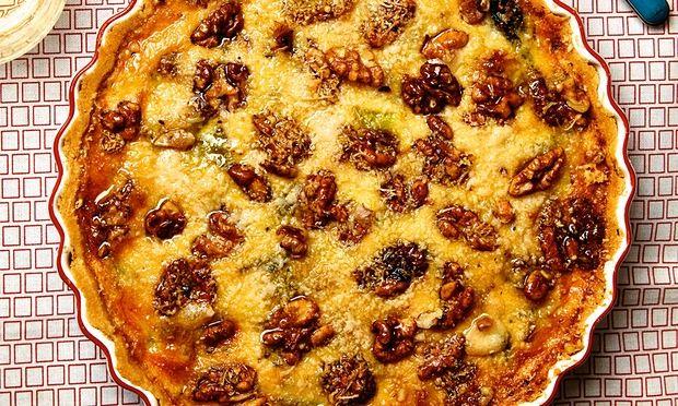 Photograph of Thomasina Miers' spiced walnut, leek and blue cheese shortcrust tart.