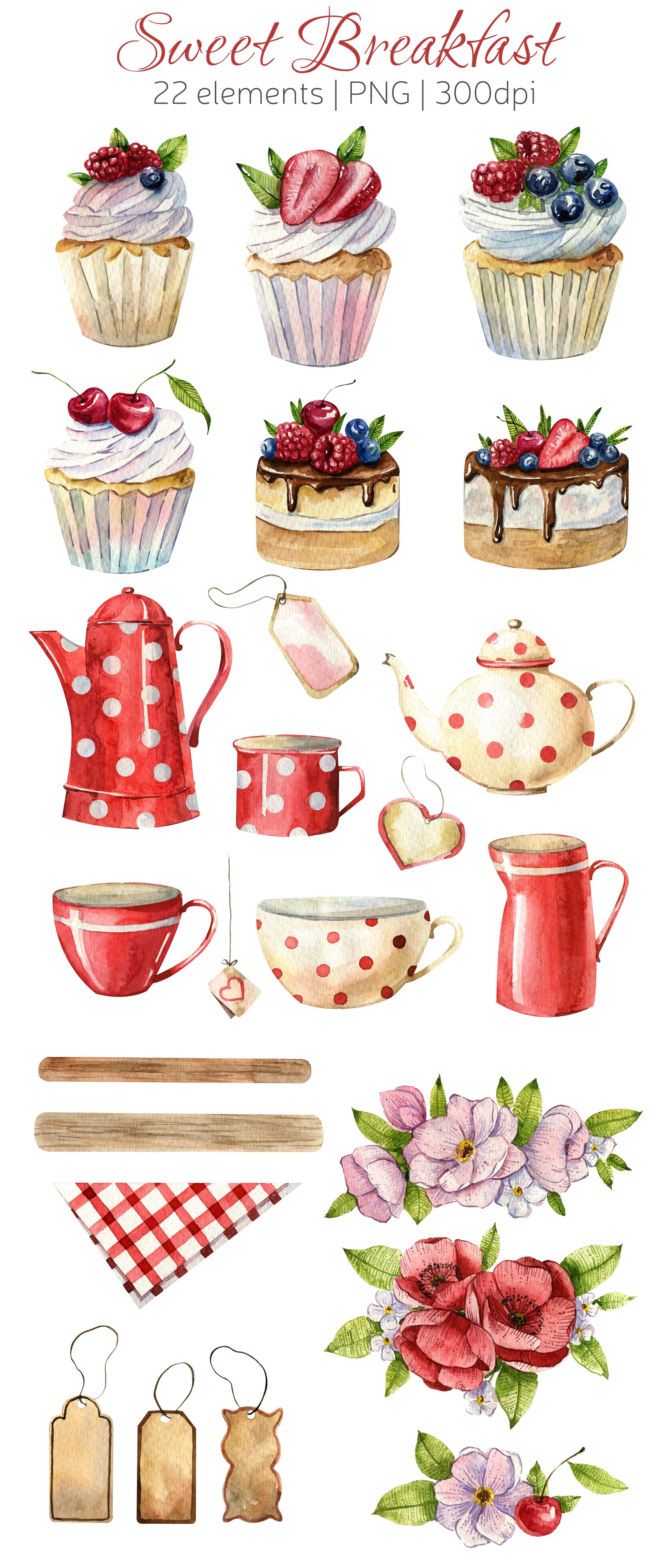 Tea Party Watercolor Clipart Cakes Teapots Cups Flowers Etsy Tea Diy Tea Party Supplies Tea Party