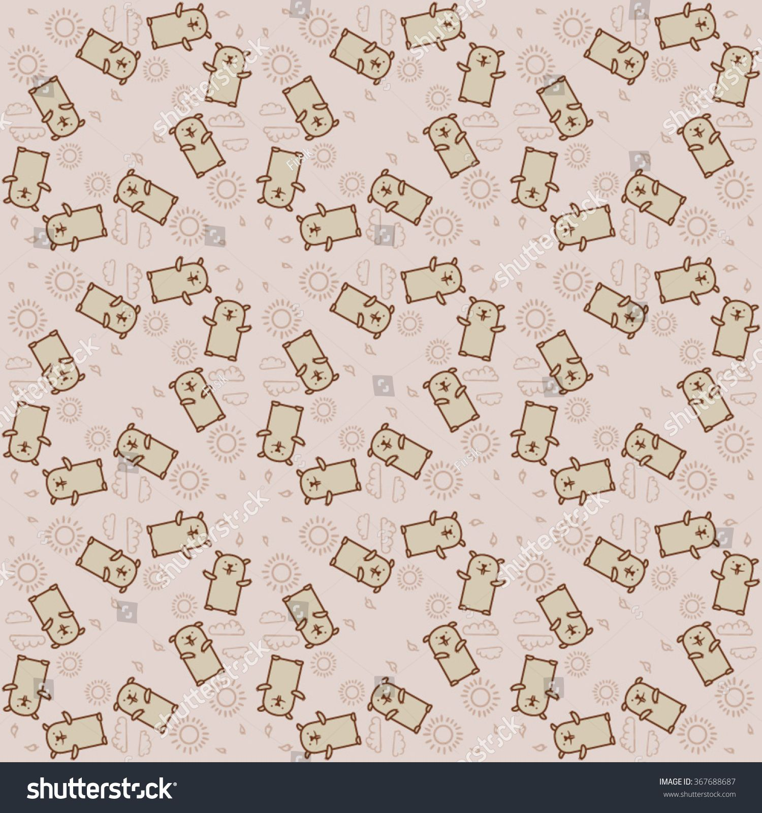 Vector Groundhog Day Pattern Cute Seamless Background