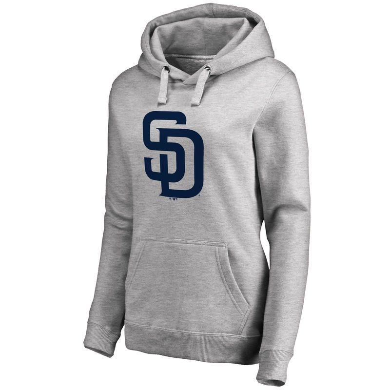 San Diego Padres Women's Secondary Color Primary Logo Pullover Hoodie - Ash