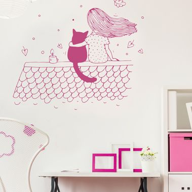 stickers chambre enfant - La petite fille sur le toit Stickers - stickers chambre bebe garcon pas cher