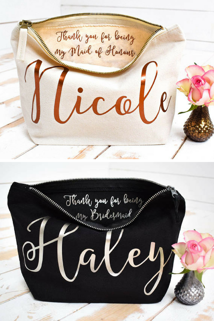 Wedding Thank You Gift Personalised Bridesmaid Make Up Bag Maid Of Honour Unique For Bridal Party Makeup Cosmetic Bags Ad