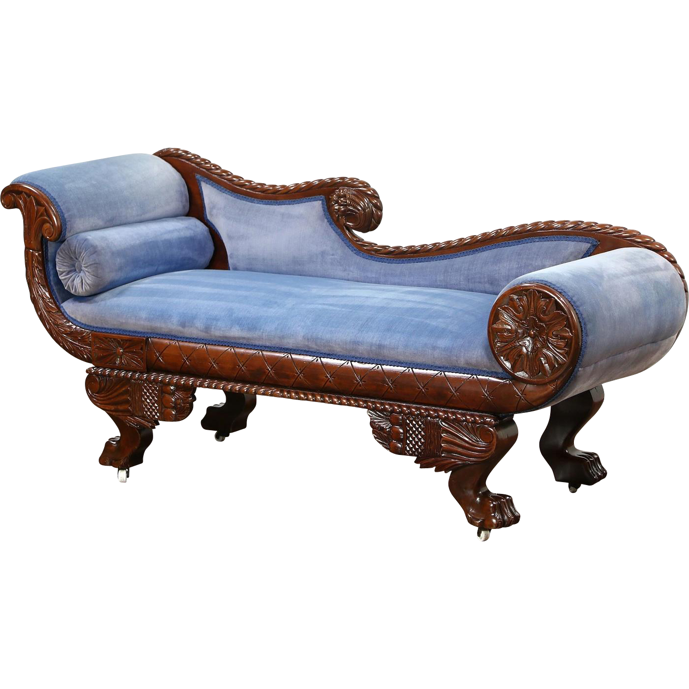 Empire 1895 Antique Chaise Recamier Lounge Or Sofa Carved Paw Feet Chaise Royal Furniture Victorian Benches