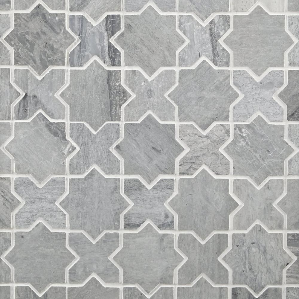 Valentino Azul Jigsaw Marble Mosaic Marble Mosaic Unique Tile