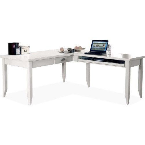 MM Furniture Tribeca Loft White L Shaped Writing Desk And Return