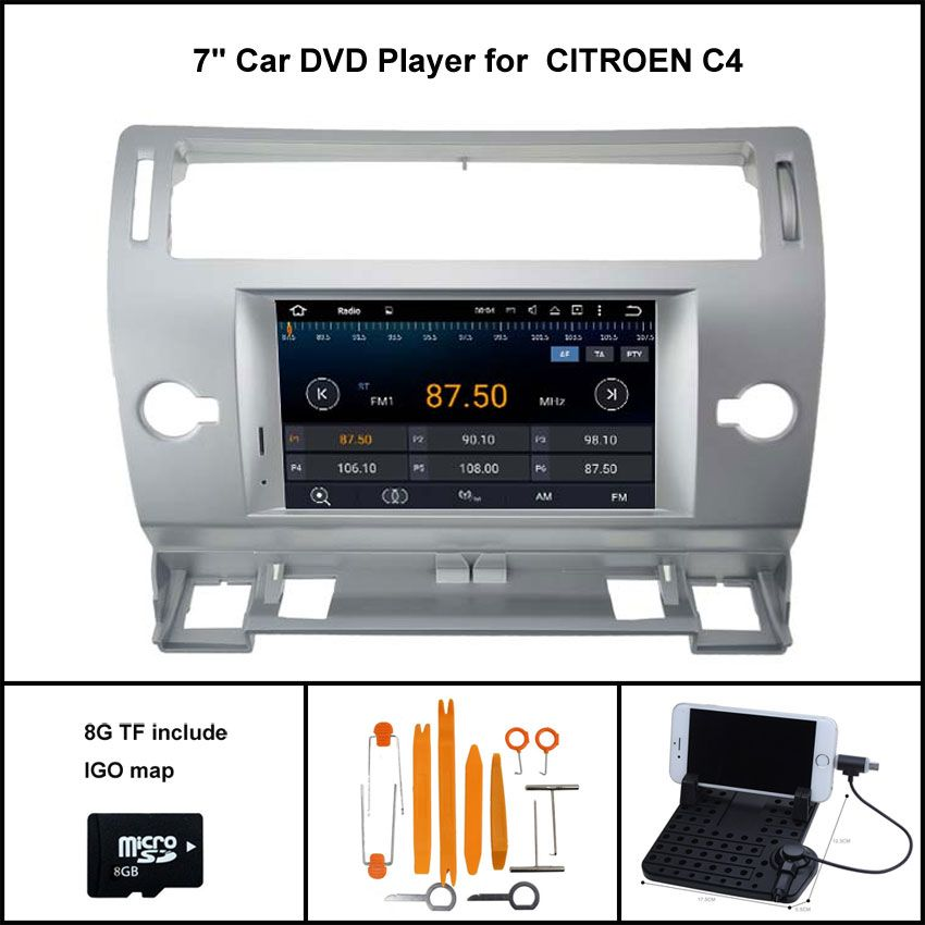 Android 5 1 Quad Core Car Dvd For Citroen C4 2004 2012 Sat Nav Car Stereo 1024x600 Screen Wifi 3g Dsp Rds 16gb Flash Car Stereo Car Core Car
